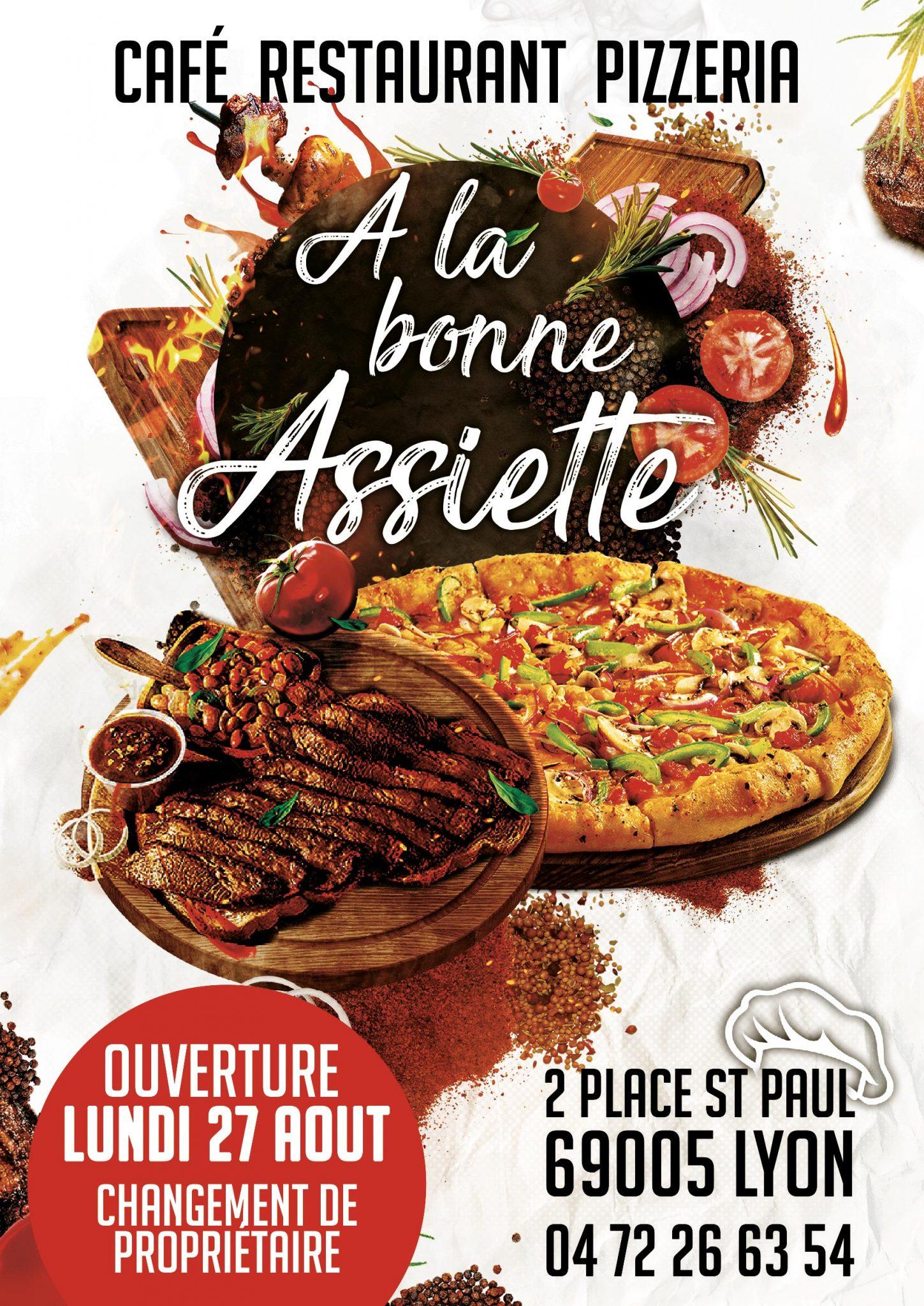 A la bonne Assiette flyer, fait par AGENCE DE COMMUNICATION & PUBLICITE HL communication